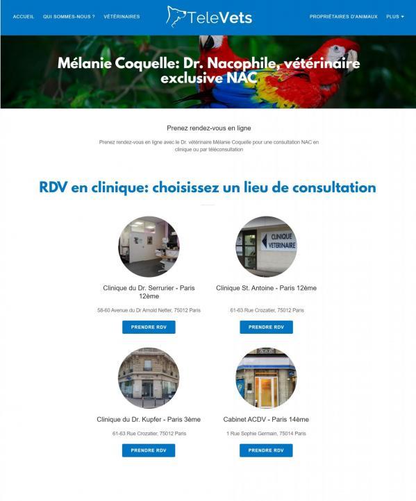 Prendre rendez vous en ligne avec le Dr Coquelle Mélanie NAC vétérinaire NAC spécialiste Paris RDV Vetolib Televet Televets